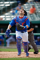 South Bend Cubs catcher Tyler Payne (45) tracks a pop up during a game against the Kane County Cougars on May 3, 2017 at Four Winds Field in South Bend, Indiana.  South Bend defeated Kane County 6-2.  (Mike Janes/Four Seam Images)