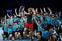 Alexander Zverev posing with his trophy for winning the ATP Tennis world tour finals and the Ball Kids <br /> <br /> Photographer Hannah Fountain/CameraSport<br /> <br /> International Tennis - Nitto ATP World Tour Finals Day 7 - O2 Arena - London - Saturday 17th November 2018<br /> <br /> World Copyright &copy; 2018 CameraSport. All rights reserved. 43 Linden Ave. Countesthorpe. Leicester. England. LE8 5PG - Tel: +44 (0) 116 277 4147 - admin@camerasport.com - www.camerasport.com