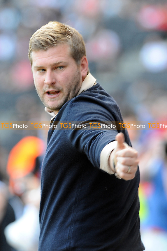 MK Dons manager Karl Robinson - MK Dons vs Yeovil Town - NPower League One Football at Stadium MK, Milton Keynes - 15/09/12 - MANDATORY CREDIT: Anne-Marie Sanderson/TGSPHOTO - Self billing applies where appropriate - 0845 094 6026 - contact@tgsphoto.co.uk - NO UNPAID USE.