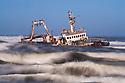Namibia, Namib Desert, Skeleton Coast, shipwreck Zeila; it stranded in 2008