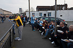 Manchester City 4, Tottenham Hotspur 3, 17/04/2019. Etihad Stadium, Champions League. Home supporters eating take away food outside the Etihad Stadium before Manchester City played Tottenham Hotspur in a Champions League quarter final, second league. The first leg was played the previous week at Spurs' new stadium which they won 1-0. The second lead resulted in a 4-3 win for City however Tottenham progressed to the semi-finals against Ajax on the away goal rule as the teams finished 4-4 on aggregate. Photo by Colin McPherson.