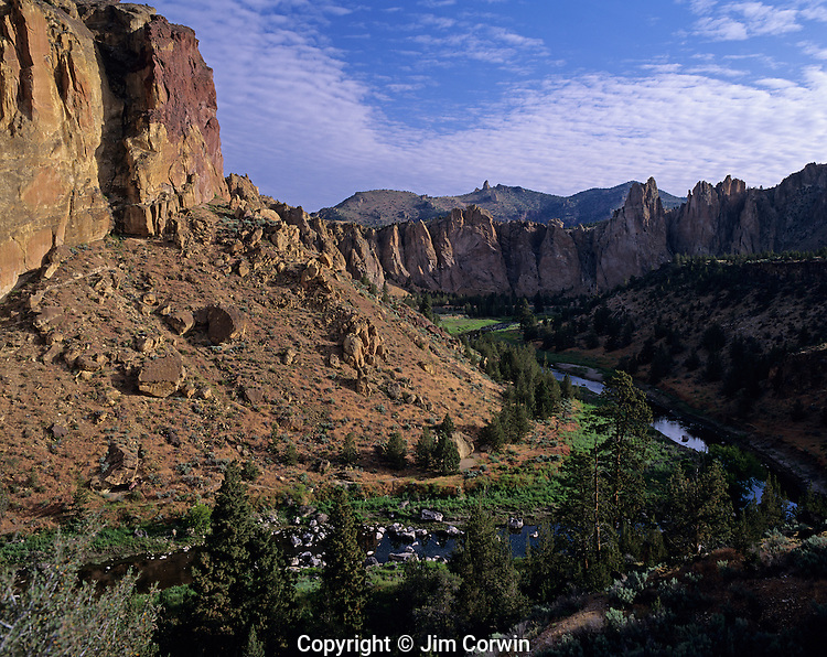 Smith Rock State Park sunrise over rock formations with Crooked river Canyon Valley Deschutes County Central Oregon State near Prineville Oregon USA