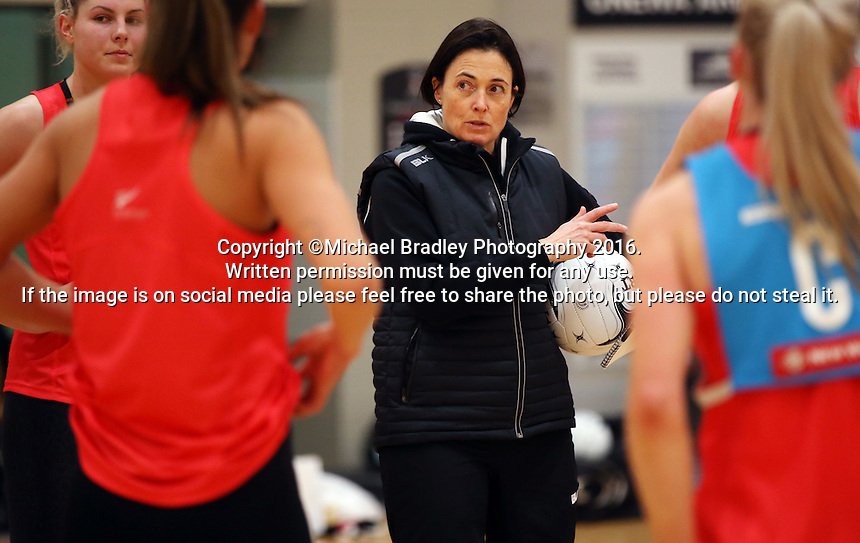 24.08.2016 Silver Ferns coach Janine Southby in action during the Silver Ferns Training in Auckland. Mandatory Photo Credit ©Michael Bradley.