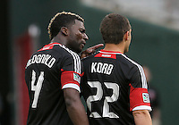 WASHINGTON, D.C. - AUGUST 19, 2012:  Brandon McDonald (4) of DC United confronts teammate Chris Kolb (22) during an MLS match against the Philadelphia Union at RFK Stadium, in Washington DC, on August 19. The game ended in a 1-1 tie.