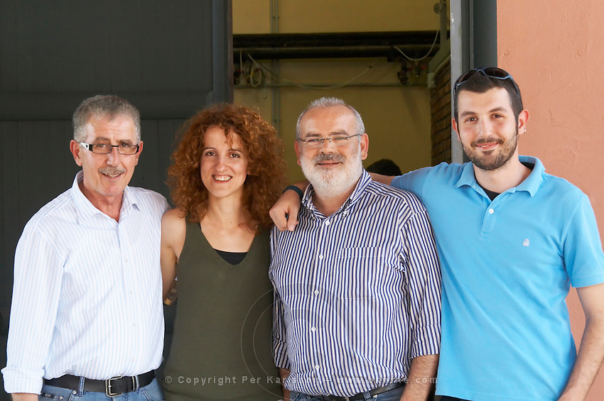 Yiannis Papadopoulos, owner, with son, Ageliki Biba, oenologist winemaker, and Yiannis Papadopoulos, owner. Wine Art Estate Winery, Microchori, Drama, Macedonia, Greece