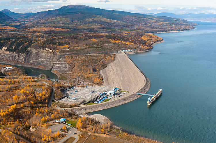 Williston Lake Reservoir and boreal forest. The WAC Bennet Dam on this section of the Peace River created the biggest lake in the province and created huge impacts on the Peace Athabasca Delta and other downstream ecosystems.