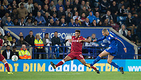 Islam Slimani of Leicester City  scores his goal during the football league cup Carabao Cup 3rd round match between Leicester City and Liverpool at the King Power Stadium, Leicester, England on 19 September 2017. Photo by Andy Rowland.