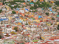 Bird eye's view of City of Guanajuato, Mexico.