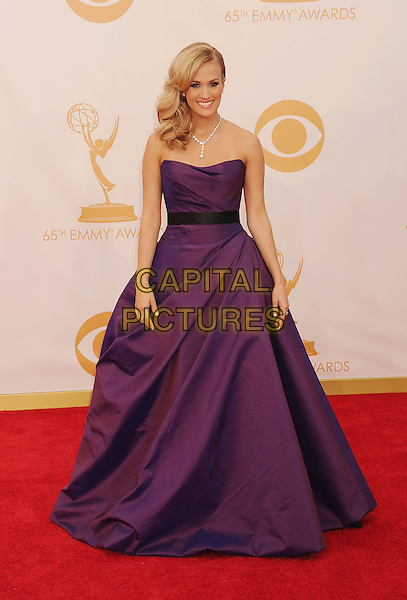 Carrie Underwood<br /> The 65th Annual Primetime Emmy Awards - Arrivals held at The Nokia Theatre L.A. Live in Los Angeles, California, USA.<br /> September 22nd, 2013<br /> full length dress purple strapless <br /> CAP/ROT/TM<br /> &copy;Tony Michaels/Roth Stock/Capital Pictures