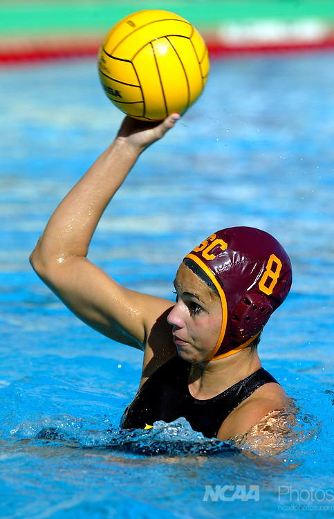 09 MAY 2004:  Driver Anna Pardo (8) of USC looks for an opening in the defense against Loyola Marymount during the Women's Division I Water Polo Championship held at the Avery Aquatic center on the Stanford University campus in Stanford, CA.  USC defeated Loyola Marymount 10-8 for the national title.  Jamie Schwaberow/NCAA Photos