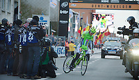 Gent-Wevelgem 2013.skidding winner Peter Sagan (SVK) in front of the photographers.