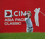 Fredrik Jacobson tees off at the final hole of Round 2 at the CIMB Asia Pacific Classic 2011.  Photo © Andy Jones / PSI for Carbon Worldwide
