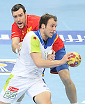 25.01.2013 Barcelona, Spain. IHF men's world championship, Semi-final. Picture show Uros Zorman  in action during game between Spain vs Slovenia at Palau St. Jordi