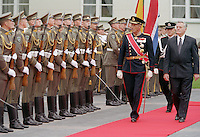 King Harald, and Queen Sonja of Norway, State Visit to Lithuania, Official Welcome Ceremony at The Presidents Palace in Vilnius, Lithuania.