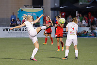 Rochester, NY - Friday June 17, 2016: Western New York Flash defender Abigail Dahlkemper (13), Western New York Flash defender Elizabeth Eddy (4) during a regular season National Women's Soccer League (NWSL) match between the Western New York Flash and the Portland Thorns FC at Rochester Rhinos Stadium.