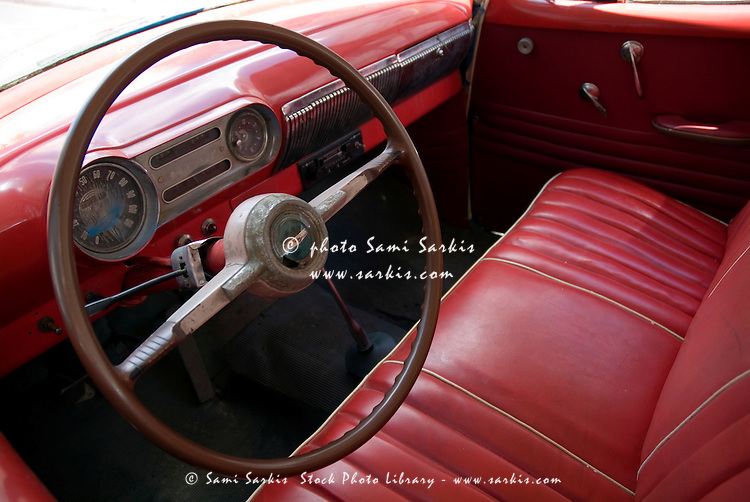 Interior of a classic american car cienfuegos cuba for American classic interior