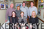 Pictured in Leen's Hotel, Abbeyfeale on Saturday night enjoying their Christmas party were the staff of Kostal, Abbeyfeale front row L-R: Caroline O'Donnell, Abbeyfeale, Suzanne Rowley, Brosna and Joanne Buckley, Duagh.  Back Row L-R Pat and Mary Collins, Athea, Paul Weir, Abbeyfeale and Mike Downey, Brosna.