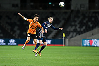 29th July 2020; Bankwest Stadium, Parramatta, New South Wales, Australia; A League Football, Melbourne Victory versus Brisbane Roar; Danny Kim of Brisbane Roar and Josh Hope of Melbourne Victory challenges for the header