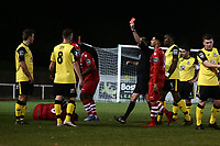Jason Ring (L) of Great Wakering is sent off during AFC Hornchurch vs Great Wakering Rovers, BBC Essex Senior Cup Football at Hornchurch Stadium on 4th December 2018
