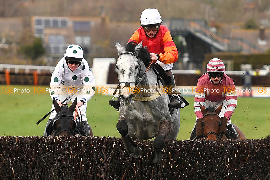 Elisezmoi ridden by Jamie Moore clears the last first time around in The Crystal Services Commercial and Domestic Cleaning Chase during Horse Racing at Plumpton Racecourse on 10th February 2020