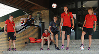 2017022 - GILZE , NETHERLANDS :  from left to right Davina Philtjens - Sara Yuceil  -  Elke Van Gorp  -  Yana Daniels  -  Janice Cayman  -  Tine De Caigny     pictured during a bucket challenge organised by the camera team of UEFA at the Van Der Valk Hotel in Gilze , The Netherlands PHOTO SPORTPIX.BE | DIRK VUYLSTEKE