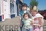 Oisin, Finn and Elizabeth Nolan, Castleisland, shopping in Castleisland town.  .