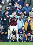 2nd February 2019, Turf Moor, Burnley, England; EPL Premier League football, Burnley versus Southampton; Ashley Barnes of Burnley shows his frustrationas he is booked by the Ref Anthony Taylor for simulation