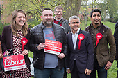 Sadiq Khan with Camden Council leader Georgia Gould and Swiss Cottage ward election candidates.  Labour Party local election campaign, Fortune Green, West Hampstead and Seiss Cottage wards, London Borough of Camden.