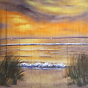Backdrop featuring a beach scene, waves, sand, beach grass and sunset colors