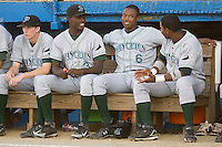 Tim Beckham (6) (center) chats with Princeton Rays teammates Brian Bryles (3) (left) and Burt Reynolds (17) at Burlington Athletic Park in Burlington, NC, Monday August 11, 2008. (Photo by Brian Westerholt / Four Seam Images)