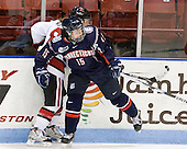 Alyssa Wohlfeiler (NU - 8), Sami Evelyn (UConn - 15) - The visiting University of Connecticut Huskies defeated the Northeastern University Huskies 4-2 (EN) in NU's senior game on Saturday, February 19, 2011, at Matthews Arena in Boston, Massachusetts.
