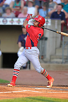 Peoria Chiefs second baseman Irving Lopez (3) swings at a pitch against the Cedar Rapids Kernels at Veterans Memorial Stadium on June 16, 2018 in Cedar Rapids, Iowa. The Kernels won 12-4.  (Dennis Hubbard/Four Seam Images)