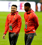 Jesse Lingard talks with Marcus Rashford ahead of the UEFA Europa League Final at the Friends Arena, Stockholm. Picture date: May 23rd, 2017. Pic credit should read: Matt McNulty/Sportimage