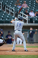 Alex Kirilloff (19) of the Pensacola Blue Wahoos at bat against the Birmingham Barons at Regions Field on July 7, 2019 in Birmingham, Alabama. The Barons defeated the Blue Wahoos 6-5 in 10 innings. (Brian Westerholt/Four Seam Images)