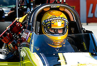 Sept. 5, 2010; Clermont, IN, USA; NHRA top fuel dragster driver Morgan Lucas during qualifying for the U.S. Nationals at O'Reilly Raceway Park at Indianapolis. Mandatory Credit: Mark J. Rebilas-