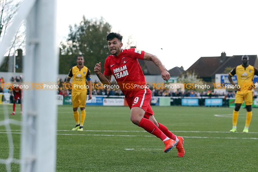 O's Macauley Bonne scores winning penalty & celebrates during Sutton United vs Leyton Orient, Vanarama National League Football at the Borough Sports Ground on 13th April 2019