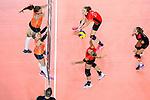 25.08.2018, …VB Arena, Bremen<br />Volleyball, LŠnderspiel / Laenderspiel, Deutschland vs. Niederlande<br /><br />Block / Doppelblock Brit Bongaerts (#12 NED), Yvon Belien (#3 NED) - Angriff Maren Fromm (#4 GER)<br /><br />  Foto &copy; nordphoto / Kurth