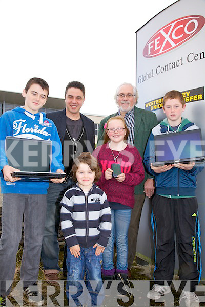 Cahersiveen prepares for the Start up a CoderDoJo at the FEXCO buildings on Valentia Road, pictured here front l-r; Shane Coffey Adam Nassar, Sarah Landers, Jack Landers, Back l-r; T.K.Nassar & Graham Royce.