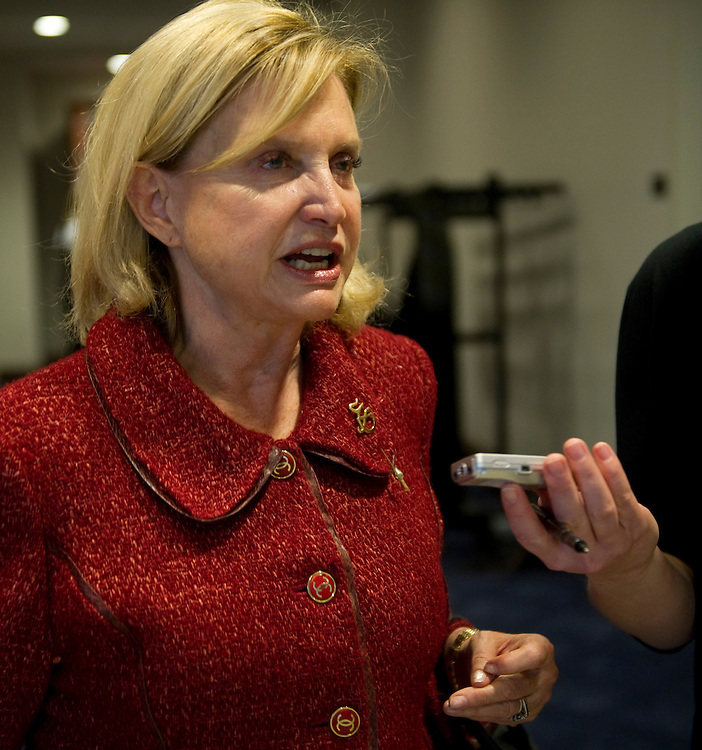 WASHINGTON, DC- Jan. 12: Rep. Carolyn Maloney, D-N.Y., talks to a reporters outside Democratic meetings for the steering committee to decide committee posts, and a security briefing for members in the wake of the shooting in Tuscon, Ariz., on Jan. 8 that killed six and injured 14, including Giffords, D-Ariz., who is recovering after being shot in the head. (Photo by Scott J. Ferrell/Congressional Quarterly)