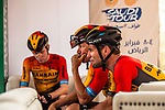 Mark Cavendish (GBR) and Bahrain-McLaren team mates before the start of Stage 5 of the Saudi Tour 2020 running 144km from Princess Nourah University to Al Masmak, Saudi Arabia. 8th February 2020. <br /> Picture: ASO/Kåre Dehlie Thorstad   Cyclefile<br /> All photos usage must carry mandatory copyright credit (© Cyclefile   ASO/Kåre Dehlie Thorstad)