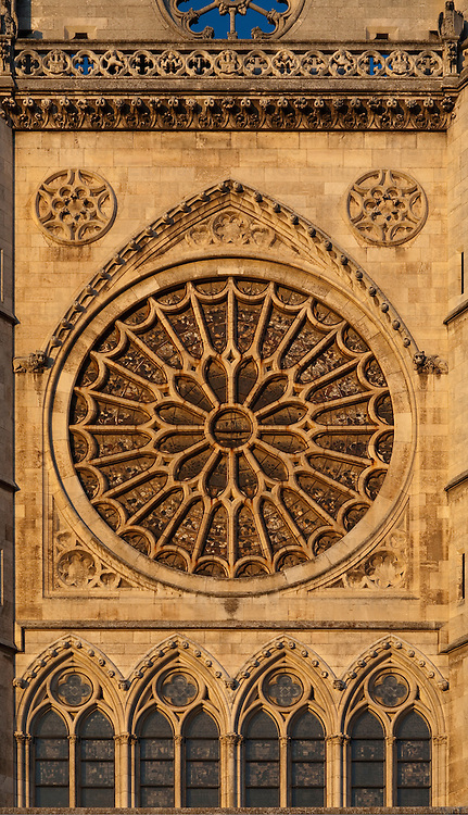 Detail of the western facade of the Gothic Cathedral, town of Leon, autonomous community of Castilla y Leon, northern Spain