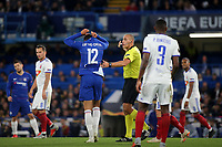 Referee Miroslav Zelinka asks Chelsea's Ruben Loftus-Cheek to leave the field to change his shirt which is torn during Chelsea vs MOL Vidi, UEFA Europa League Football at Stamford Bridge on 4th October 2018