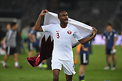 February 1st 2019; Adu Dhabi, United Arab Emirates; Asian Cup football final, Japan versus Qatar;  Abdelkarim Hassan of Qatar celebrates after the final match