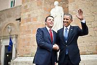 Roma, 27 Marzo, 2014. Matteo Renzi e Barack Obama arrivano a Villa Madama per la conferenza stampa. U.S. President Barack Obama (R) walks with Italian Premier Matteo Renzi at Villa Madama in Rome.