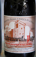 Domaine Pierre Usseglio, Chateauneuf-du-Pape. Rhone. France Europe. Bottle.