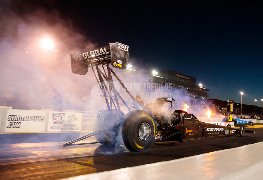 Jul 26, 2019; Sonoma, CA, USA; NHRA top fuel driver Mike Salinas during qualifying for the Sonoma Nationals at Sonoma Raceway. Mandatory Credit: Mark J. Rebilas-USA TODAY Sports