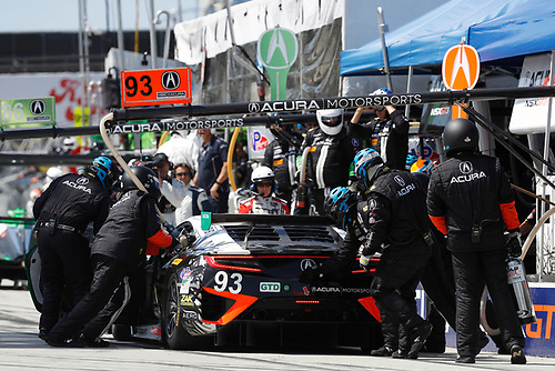 2017 IMSA WeatherTech SportsCar Championship<br /> BUBBA burger Sports Car Grand Prix at Long Beach<br /> Streets of Long Beach, CA USA<br /> Saturday 8 April 2017<br /> 93, Acura, Acura NSX, GTD, Andy Lally, Katherine Legge, pit stop<br /> World Copyright: Michael L. Levitt<br /> LAT Images