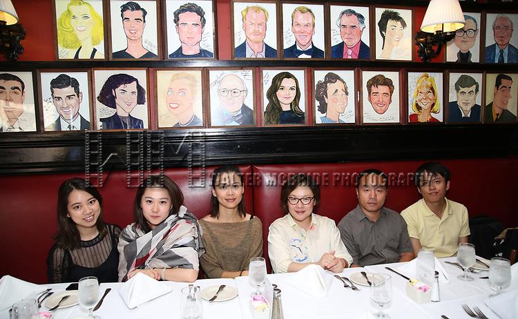 Qianda Rao, Xuejiao Bai, Zhenzhu Ma, Yanping Ma, Zhiyong Liu and Wen Chen from Central Academy of Drama: Professors Visit Sardi's on September 24, 2017 at the Drama League Center  in New York City.