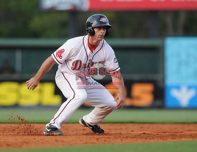 Catcher Dan Butler (12) of the Greenville Drive, Class A affiliate of the Boston Red Sox, at a game against the West Virginia Power April 29, 2010, at Fluor Field at the West End in Greenville, S.C. Photo by: Tom Priddy/Four Seam Images
