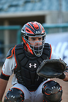 Aramis Garcia (14) of the San Jose Giants catches in the bullpen before a game against the Lancaster JetHawks at The Hanger on April 10, 2017 in Lancaster, California. Lancaster defeated San Jose 11-7. (Larry Goren/Four Seam Images)
